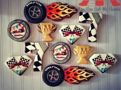 Racing themed cookies for Mathias' Birthday Bash! Hot Wheels Party, Hot Wheels Birthday, Race Car Birthday, Cars Birthday Parties, Birthday Bash, No Bake Sugar Cookies, Car Cookies, Cookies For Kids, Royal Icing Cookies