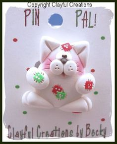 Becky's Polymer Clay Meowy Christmas Kitty by clayfulcreations