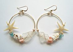 Beach Shell Hoop Earrings Real Starfish by BellaAnelaJewelry, $66.00