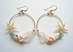 Beach Shell Hoop Earrings, Real Starfish Earrings, Boho Beach Hoops, Gold Filled