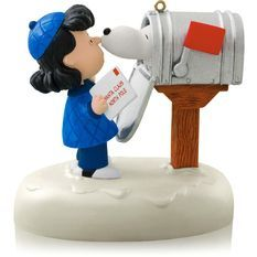 Snoopy's Christmas Greeting! ornament ...Hallmark 2014 Dream Book...lift the flag to hear Snoopy kiss Lucy and hear her reaction :)
