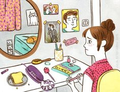"""""""Hanging on the telephone"""", the finished illustration from my last process video ☎️ #illustration #ilustracion #illustrator #drawing #art #artwork #Blondie #CallMe #painting #waiting #girl #room #teen #phone #crush #cat #mirror #diary #illustratorsoninstagram #watercolor #gouache"""