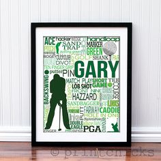 Zach!  Golf Print Personalized Golf Typography Print  11 x by PrintChicks, $22.00