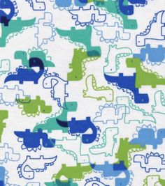 """Snuggle Flannel Fabric 42""""-Blue Green Dinosaurs"""
