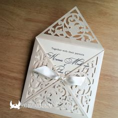 Your place to buy and sell all things handmade Embossed Wedding Invitations, Ivoire, Cut Flowers, Weeding, Handmade Cards, Stationary, Wedding Flowers, Gift Wrapping, Animal