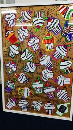 Collaborative cupcake art for school auction Cupcake for Everyone by Grade 4s