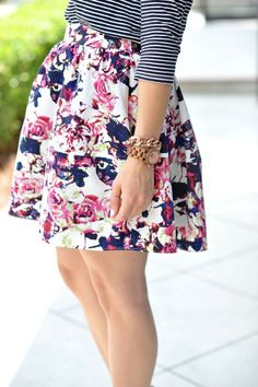 Floral Express skirt and striped tee outfit  via @mystylevita