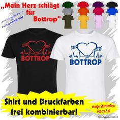 T-Shirt  Mein Herz schlägt für Bottrop  individuell gestaltbar mit Flexdruck
