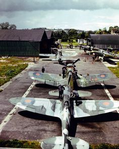 Wow! British Spitfire, and two American built aircraft, an F4-U Coursair and a F4 Wildcat dressed for British service. Don't see that much, impressive pic!!!