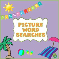 This set of three summer-themed picture word search puzzles give a fun and challenging twist on the usual word search puzzles. Build the word list from the pictures and then find them in the puzzle. This is a great way to reinforce vocabulary and spelling skills--especially great for ESL!