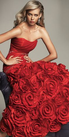 Reem Acra - 2013. Red Rose Dress/Gown. Would wear this as a Wedding Dress, Red Carpet, or even for a Masquerade Ball.