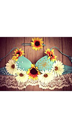 Sunflower daisy rave bra by PlurfectBoutique on Etsy