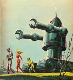 Adventures in Science Fiction Cover Art: A Handful of Funny Robots. Unless those arms extend the robot's only use will be to run over people -- which it's about to do. (Ed Valigursky's cover for the the 1962 edition of Next Stop The Stars (1962), Robert Silverberg) https://sciencefictionruminations.wordpress.com/2011/10/19/adventures-in-science-fiction-covert-art-a-handful-of-funny-robots/
