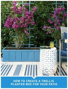 Spring has sprung! Give your flowers the perfect place to grow with this DIY trellis planter box. - All About Garden Steep Backyard, Backyard Landscaping, Diy Trellis, Garden Trellis, Diy Planters, Planter Boxes, Painting The Roses Red, Garden Landscape Design, Decks And Porches