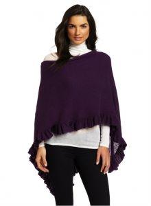 Minnie Rose Cashmere Ruffle Ruana Pullover Sweater