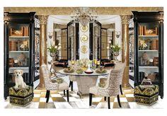 gold & black dining room