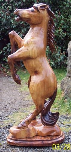 rearing horse 40 tall by milharley on Etsy Chainsaw Wood Carving, Wood Carving Faces, Tree Carving, Wood Carving Art, Wood Carvings, Chain Saw Art, Cigar Store Indian, Art Carved, Horse Sculpture