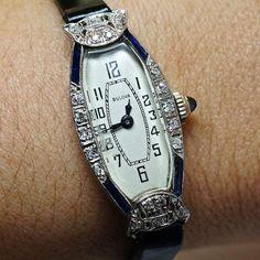 Vintage Ladies Platinum Bulova Watch with Diamonds and Sapphire Stones