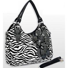 Handbags, Bling & More! Black Zebra Print Flower Purse : Flower Purses
