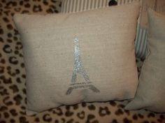 silver effiel tower pillow