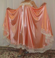 VTG Lingerie Silky Satin Slip FULL Sweep Negligee Babydoll LONG Nightgown M- 5X