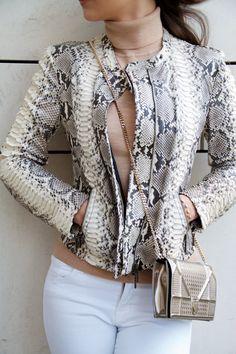 J BRAND jeans H&M turtleneck cardigan PLEIN SUD python leather jacket DIOR DIORAMA bag