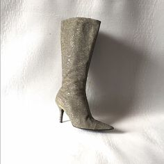Zara silver fabric boots! Beautiful Silver Fabric Boots Made It For A Big And Fancy Party!!! Let's Dance!!! Zara Shoes Ankle Boots & Booties