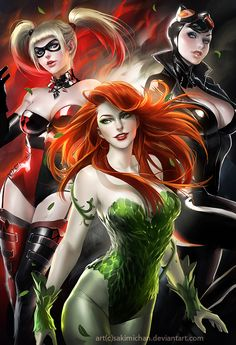Gotham City Sirens- Poison Ivy, Harley Quinn, and Catwoman. But don't get me wrong, Marvel is still better. Manga Anime, Film Manga, Art Manga, Gotham City, Comic Book Characters, Comic Character, Comic Books, Catwoman, Harley Quinn Et Le Joker