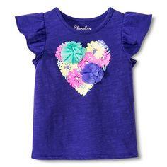 Toddler Girls' Flutter Sleeve Floral Heart Tee - Plum Chic