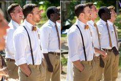 bowties with suspenders...sleeves rolled up.