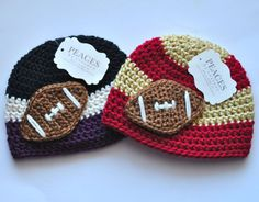 Crocheted Baby Hats  2013 super bowl theme  Some Etsy sellers are wicked savvy and made products to support both teams. Buy these here.