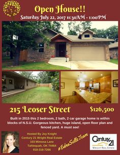 Open House, #EdnaSells, #JoySellsToo, Tahlequah Homes, Oklahoma Homes