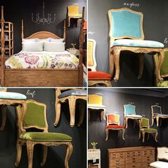 Joanna Gaines, Magnolia Home (Fixer Upper) home furnishings coming in 2016.http://www.countryliving.com/home-design/a36703/joanna-gaines-magnolia-home-collection/ Here's a buffet and a bed from the primitive collection. The chairs have a French wood detail and fun velvet color to mix it up! #primitive #eclectic #magnoliahomefurniture