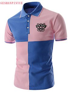 Polo De los hombres Casual/Trabajo/Deporte Un Color - Mezcla de Algodón - Manga Corta Polo Shirt, T Shirt, Polo Ralph Lauren, Stylish, Fitness, Sleeves, Mens Tops, Fashion, Printed Tees