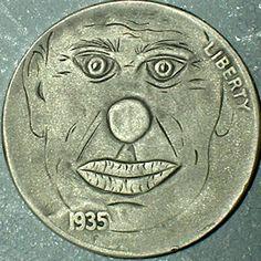 DAVID JONES HOBO NICKEL - 1935 BUFFALO NICKEL Hobo Nickel, Old Coins, Carving, David Jones, Personalized Items, The Originals, Buffalo, Cactus, Photograph