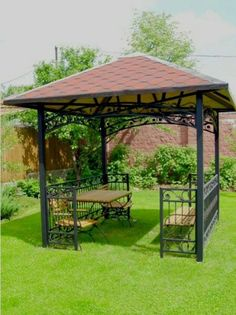 Want to build or decorate a backyard gazebo but you're low on inspiration? Read our article for amazing outdoor gazebo ideas that'll transform your garden! Wrought Iron Garden Furniture, Metal Patio Furniture, Furniture Ideas, Iron Furniture, Outdoor Garden Furniture, Furniture Layout, Furniture Makeover, Pergola Designs, Patio Design