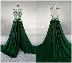 Mountain Flowers Gown by Askasu Cute Prom Dresses, Ball Dresses, Pretty Dresses, Beautiful Dresses, Ball Gowns, Loki Dress, Glamouröse Outfits, Fantasy Gowns, Green Dress