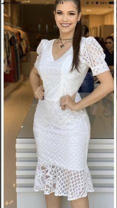 Elegant White Dress, Elegant Outfit, Classy Dress, Simple Dresses, Casual Dresses, Short Dresses, Fall Fashion Outfits, Fashion Dresses, Lace Dress Styles
