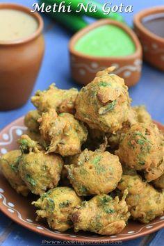 Methi Na Gota / Methi Pakoda. Most popular Gujarati tea time snack recipe.You will find this at every Gujarati home during winters and Gujarati weddings. - methi na gota or Methi Pakoda Recipe - Gujarati Tea time snack recipe Methi Recipes, Gujarati Recipes, Indian Food Recipes, Vegetarian Recipes, Snack Recipes, Cooking Recipes, Yummy Snacks, Cooking Tips, Dry Snacks