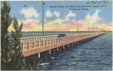 Barnhill Tampa Bay Bridge Clearwater vtg art print color orig Gandy FL post card