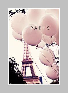 PARIS Photography 8 x 10 Print. Pink Balloons in Paris, Still Life, Eiffel Tower, Balloons, Love in Paris, Architecture, Pastel, Paris Print...
