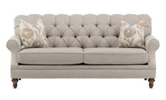The Venice Dove Sofa is upholstered in a stunning neutral fabric with subtle texture. The deep button tufted back, sloping rolled arms, and dark brown turned legs will leave a remarkable impression on all of your guests. Add sophistication to your room Brown And Cream Living Room, Brown Couch Living Room, Cheap Patio Furniture, Home Decor Furniture, Farmhouse Furniture, Rustic Furniture, Office Furniture, Painted Furniture, Living Room Designs