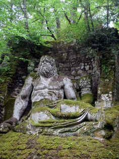 Manieristic Park of the Monsters in Bomarzo. Sculptural work of Pier Francesco Orsini (1528-1588) and built near the Orsini Castle, in the province of Viterbo, Lazio region, Italy.
