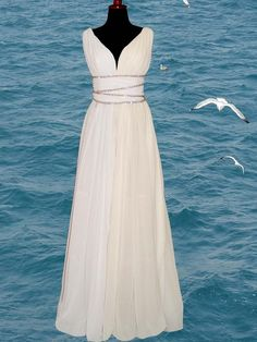 Ancient Greek style dress- very flowy- romantic- (eloping, bohemian, or beach wedding)