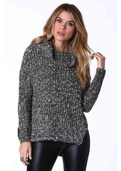 Turn Up The Heat Cowl Neck Sweater in Black/ivory | Necessary Clothing
