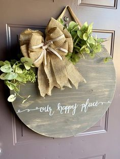 Farmhouse Door - Wall Decor - Round Plaque : Farmhouse Door - Wall Decor - Round Plaque – The Rustic Peach Wood Wreath, Wood Circles, Burlap Bows, Front Door Decor, Handmade Home Decor, Diy Projects To Try, Porch Decorating, Door Hangers, Wood Crafts