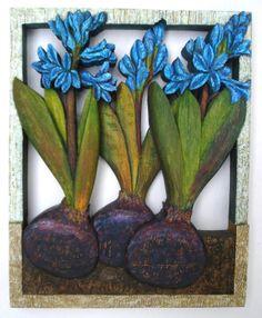 Dark Hyacinths bas-relief, painted