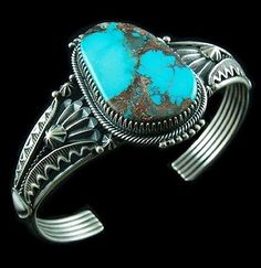 Navajo-Native-American-Sterling-Silver-Old-BISBEE-TURQUOISE-Cuff-Bracelet-s6-75