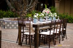 Wooden guest tables add a rustic effect to your wedding reception. Blackstone Country Club, Peoria, AZ