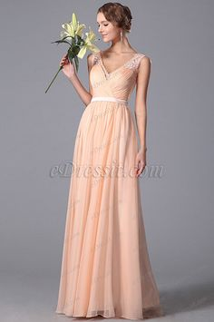 Elegant Sleeveless Lace Shoulders Bridesmaid Dress (00152001)